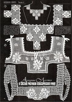 "Photo from album ""Дуплет on - Best Sewing Tips Col Crochet, Crochet Motifs, Crochet Collar, Crochet Blouse, Crochet Chart, Filet Crochet, Irish Crochet, Crochet Stitches, Knitting Patterns"