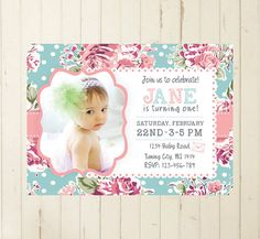 Printable baby girl invitation baby girl first birthday shabby chic por RebeccaDesigns22, $11.99