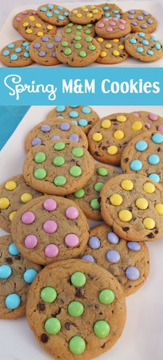 Spring M&M Cookies ~ are soft, chewy, chock full of chocolate and taste as good as they look. An easy and colorful Easter Dessert, Spring Cookie or Mother's Day treat. M M Cookies, Galletas Cookies, Easter Cookies, Easter Treats, Easter Food, Easter Snacks, Easter Baking Ideas, Sugar Cookies, Mothers Cookies