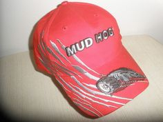 Mud Hog Men's Hat Cap With Velcro Strap Color Red One Size Fits All 100% Cotton #MudHog #BaseballCap