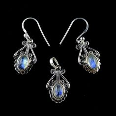 NATURAL RAINBOW MOONSTONE GEMSTONE 3 PIECE JEWELRY SET 925 STERLING SILVER KJS28 #Unbranded