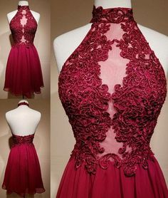 Burgundy Lace Short A-Line Homecoming Dress,Backless Homecoming Dress,Short Prom Dress