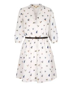 fdbda7ec61b Look at this White Birds Three-Quarter Sleeve Belted Dress on  zulily today!
