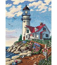 Add eye-catching handmade needlework to your home decor when you stitch the Dimensions Gold Collection Petite Beacon At Rocky Point Counted Cross Stitch Kit 5 x 7. The bright colors of the beautiful b
