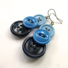 Ombre Blue Three Button Dangle Earrings by buttonsoupjewelry, $10.00