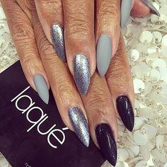 Silver, Matte Gray and Black Claw Nails #Laque #laquenailbar #getlaqued