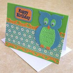 Happy birthday handmade greeting card owl handmade cards handmade birthday card owl bookmarktalkfo Image collections