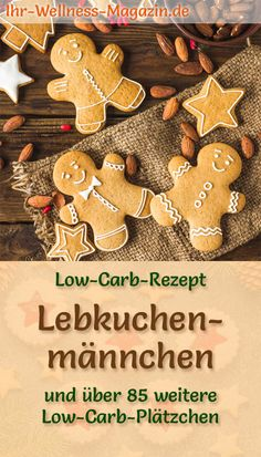 Low carb gingerbread men – simple cookie recipe for Christmas cookies - Kekse Ideen Gingerbread Man, Gingerbread Cookies, Christmas Cookies, Easy Cookie Recipes, Healthy Treats, Low Carb Keto, Bakery, Good Food, Food And Drink