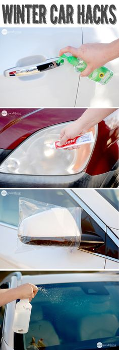 Going to try cleaning the car headlights to remove the cloudiness. Cover each light with toothpaste and rinse off with warm water. This will drastically improve the clarity of your lights and is MUCH cheaper than the kits they sell at the store that provide the same service.