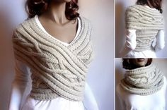Knitted Womens Sweater Cowl Vest Pattern (Video Tutorial) – Awesome Knitting Ideas and Newest Knitting Models Cable Cowl, Cable Knitting, Cable Knit Sweaters, Knitting Machine, Vogue Knitting, Vintage Knitting, Free Knitting, Crochet Hooded Cowl, Knit Cowl