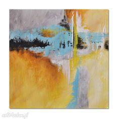 Abstrakcja YBTG 2, nowoczesny obraz ręcznie malowany. $68