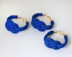 Bridesmaid Wedding Set of 3 Nautical Silk cord Navy Blue by pardes, $40.00