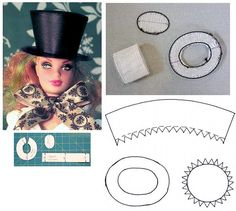 Free Barbie Doll Sewing Pattern: hat for barbie. Have a pattern already very similar. Love making hats. Just find that may have to make smaller hats that sit on top of the head. Wanna make a riding hat for barbie.