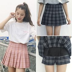 Aliexpress.com : Buy harajuku womens 2016 korean style skirt summer style new plaid pleated skirt rock kawaii high waist skirt women clothing from Reliable skirt red suppliers on dodostyle Store