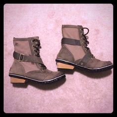 Cutest Sorel boots! Bought from another Posher but unfortunately aren't the right size for me. They have only been worn a couple times and are in great condition, practically new! Cute grayish tan color. SOREL Shoes Lace Up Boots