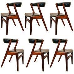 Set of 6 Vintage Danish Teak Dining Chairs | From a unique collection of antique and modern dining room chairs at https://www.1stdibs.com/furniture/seating/dining-room-chairs/