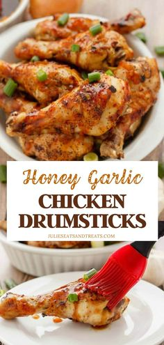 Honey Garlic Chicken Drumsticks Recipe is one of the best! Take crispy chicken drumsticks up a notch with a flavorful honey garlic sauce. Serve over rice and some steamed veggies for a complete healthy meal! Add this to your Father's Day menu ideas! Crockpot Chicken Leg Recipes, Steam Chicken Recipe, Pork And Beef Recipe, Chicken Drumstick Recipes, Beef Recipes, Cooking Recipes, Healthy Recipes, Crispy Honey Chicken, Healthy Baked Chicken