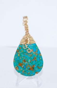 A personal favorite from my Etsy shop https://www.etsy.com/listing/256127977/beautiful-turquoise-pendant-wrapped-in