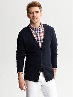 BR Men's Slub-knit cotton cardigan - $35. Cotton. Online in size L only.
