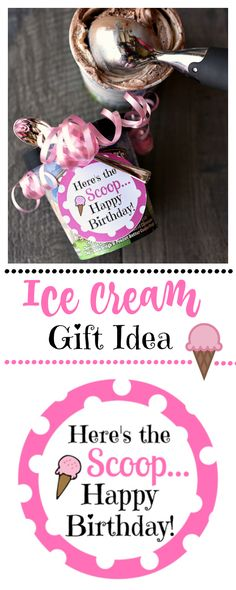 Here's the scoop-this ice cream gift makes a great birthday gift idea or thank you gift idea. Works great for teacher appreciation too!