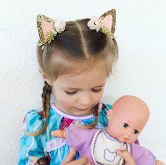 Kitty Cat Clip in Ears, Glitter Cat Ears on Clip OR Headband, Gold Kitty Cat Ears, Easter Gift for Girls, Kitty Cat Ear Headband by CharmAndCompany on Etsy