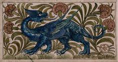 Blue Dragon Animal Watercolor Tile Design by William de Morgan