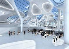 neues Passagierterminal Zagreb Kroatien-Entwurf Zaha Hadid-luftige Struktur