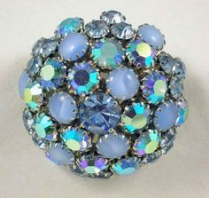 Vintage Signed Weiss Blue Rhinestone Domed Brooch, C.1950s (500x474, 94Kb)