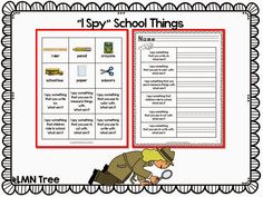 "Classroom Freebies: ""I Spy"" Back to School Literacy Activities"