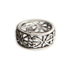 NOVICA Hand Made Sterling Silver Band Ring (52 AUD) ❤ liked on Polyvore featuring jewelry, rings, band, sterling silver, lace jewelry, butterfly ring, lace ring, sterling silver band rings and band rings