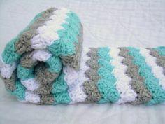 Crochet Baby Blanket Baby Blanket White Grey and by Jadescloset