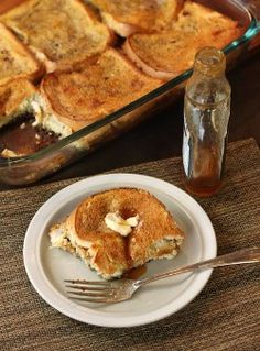 Recipe for cinnamon vanilla sugar baked french toast. Yum! And very easy to make.