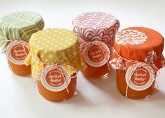 jam jars (for your scones!) with fabric scraps & baker's twine