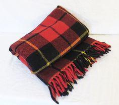 Horner Plaid Wool Blanket, Red and Black 58 x 60 Plaid Stadium Blanket, Vintage Horner Woolen Mills, Cabin Decor, Picnic Throw by GinnysGirlsTreasures on Etsy