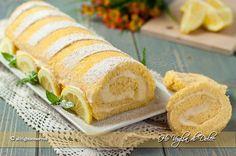 Rotolo al limone, un dolce fresco, dal gusto delicato di limone, farcito con crema diplomatica. Una ricetta perfetta per la merenda e per occasioni speciali