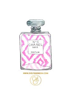 Pink Ikat Chanel Perfume Print 8.5 x 11 by EvelynHenson on Etsy
