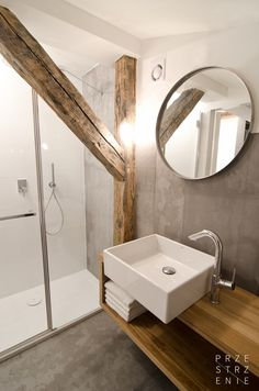 Grey U0026 Wooden Bathroom In The Attic Little Apartment In Sosnowiec Poland  #wood #concrete