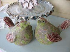 Pair of Shabby chic Love Birds Budgies  Bird garden by Fannypippin, $20.00