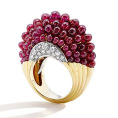 Cartier spectacular ruby bead and diamond ring