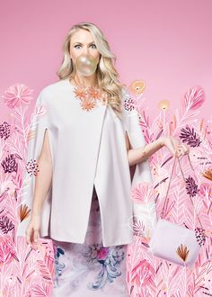 Minimalist cape, $348; floral dress, $295; flower starburst necklace, $129; crosshatch cross-body purse, $115, all Ted Baker at Bloomingdale's, The Mall at Millenia. Kaleidoscope statement earrings, $85, and octagon mother-of-pearl ring, $88, Tuni in Winter Park. Pink stone bracelet, $26.99, Blu Dulce in Winter Park. Floral Fantasy - Orlando Magazine - April 2016 - Orlando, FL
