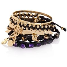 River Island Gold Tone And Black Spike Bracelets (£15) ❤ liked on Polyvore featuring jewelry, bracelets, accessories, joias, pulseiras, spikes jewelry, metal jewelry, gold tone jewelry, colored gold jewelry and goldtone jewelry