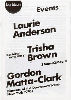 Laurie Anderson, Trisha Brown, Gordon Matta-Clark Image 1