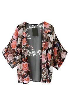 Black #Floral Chiffon #Kimono Coat