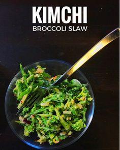 Easy Kimchi broccoli slaw recipe, great vegetarian recipe that will ...