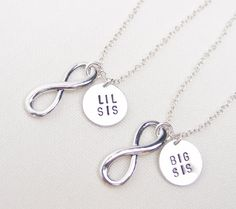 Big Sis Lil Sis necklaces, set of two infinity necklace , sisters jewelry, matching necklaces for sisters, infinity charm, infinity love
