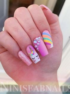 Cute unicorn nails adorned with glitter and rhinestones! Many women prefer to attend the hairdresser even when … Best Nail Art Designs, Acrylic Nail Designs, Stylish Nails, Trendy Nails, Shiny Nails, Gel Nails, Unicorn Nails Designs, Mermaid Nails, Pretty Nail Art