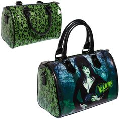 Elvira Mistress of the Dark official zombie handbag by Kreepsville. Green glitter vinyl with flock style skull repeat and printed vinyl image of Elvira Mistress of the Dark. Green satin lining with in