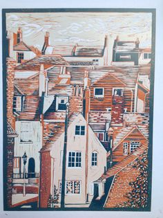 Hastings by Alison Headley Linoprint a reduction of 5 colours