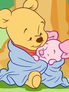 """Baby Pooh and Baby Piglet Cuddled Together in a Warm, Fluffy Blanket. """"Winnie the Pooh and Friends"""" Winnie The Pooh Drawing, Winnie The Pooh Pictures, Cute Winnie The Pooh, Disney Kawaii, Pooh Baby, Baby Disney Characters, Baby Piglets, Disney Babys, Cute Disney Drawings"""