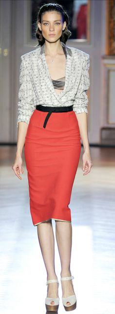 ROLAND MOURET. Love this combo of loose and sexy meets pencil skirt prissy.